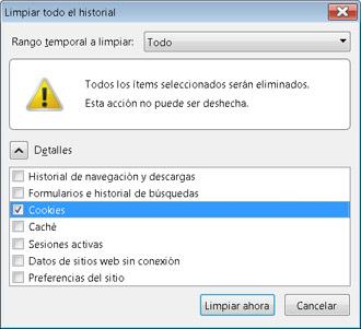 Opciones Firefox