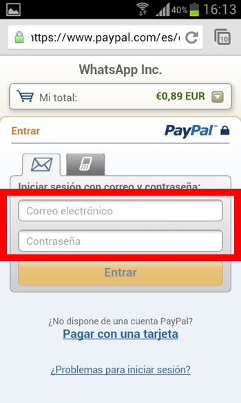 Paso 4 iniciar sesion Paypal