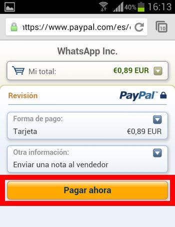 Paso 5 pagar Paypal