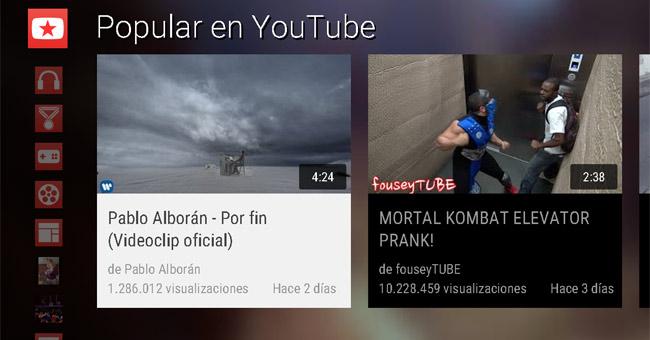 Youtube en modo Leanback