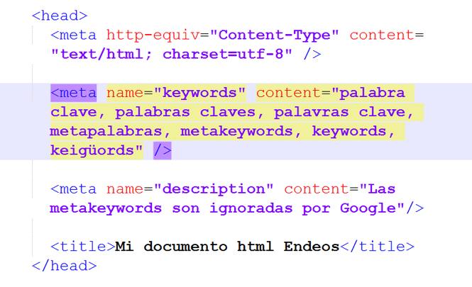 Las meta keywords son ignoradas por Google