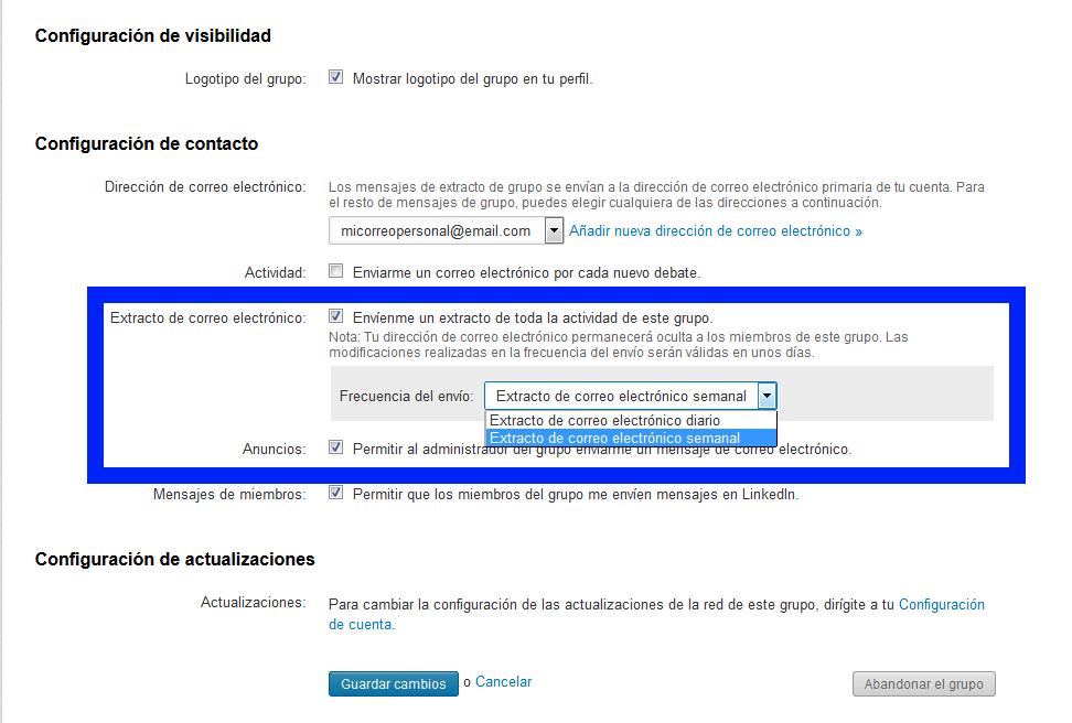Configuración mail miembros grupos Linkedin