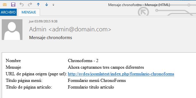 ChronoForms título artículo