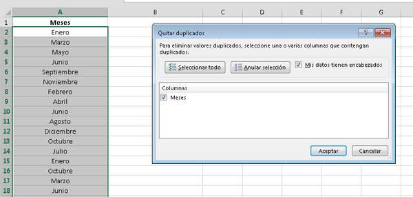 Eliminar duplicados con herramientas de datos