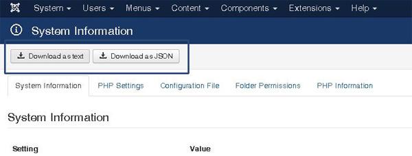 Joomla 3.5 - Información sistema