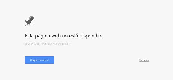 Mensaje de error de conexión en Chrome