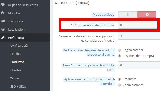 Configuración comparación de productos
