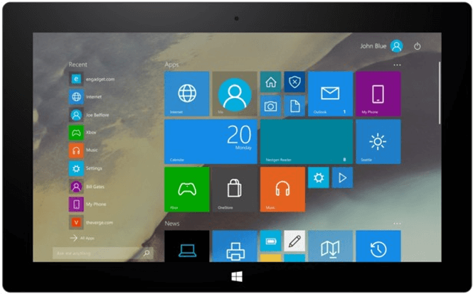 Windows 10 Tablet mode
