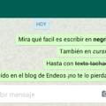 Negrita cursiva tachado WhatsApp