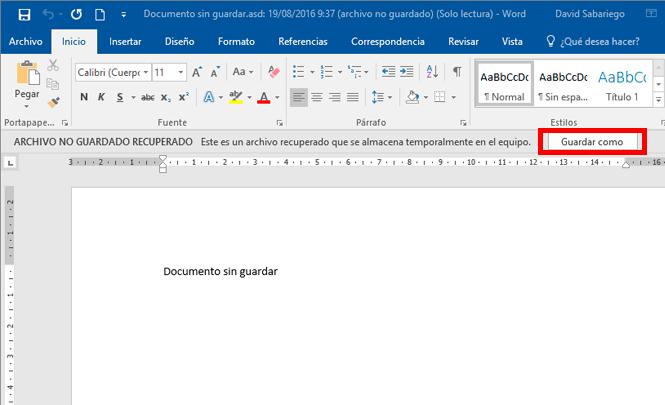 Guardar el documento Word recuperado