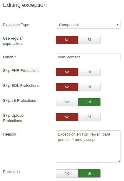 Configurar RSFirewall para permitir <iframe>