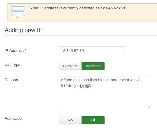 Añadir IP a la lista blanca de RSFirewall!