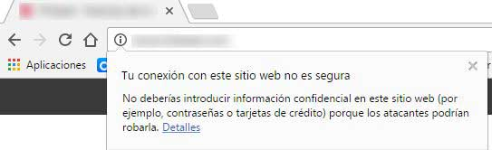 Sitio no seguro en Chrome