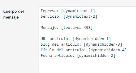 Recibir mail campos automaticos