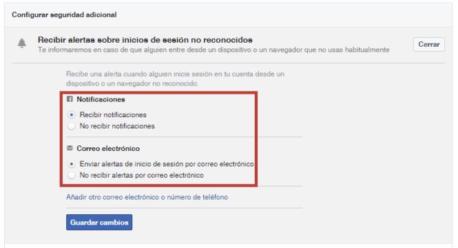 Alertas inicio sesión en Facebook