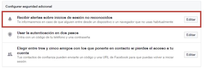 Facebook seguridad adicional