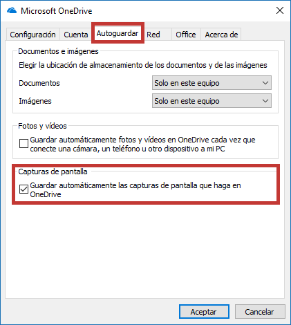 Guardar capturas de pantalla OneDrive