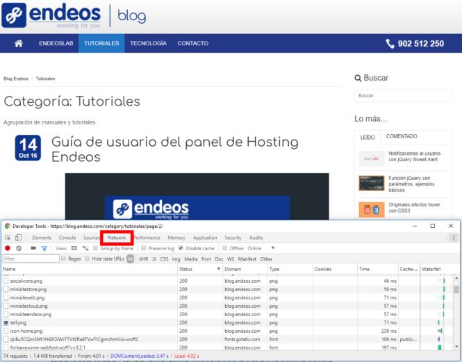 Chrome Pestaña Network