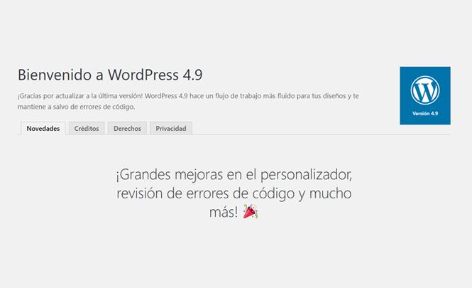 Estas son las novedades de Wordpress 4.9