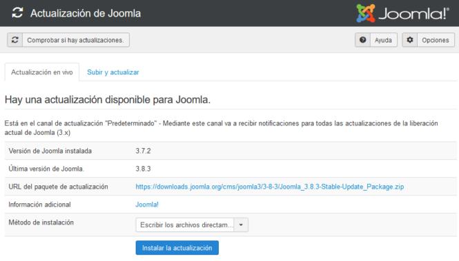Actualizar Joomla a la versión más reciente