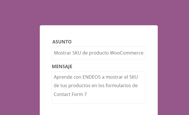 Mostrar SKU WooCommerce en Contact Form 7