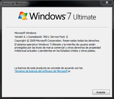 Version de Windows en uso